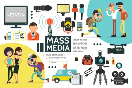Flat mass media infographic template Illustration