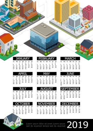 Isometric cityscape 2019 year calendar poster Illustration