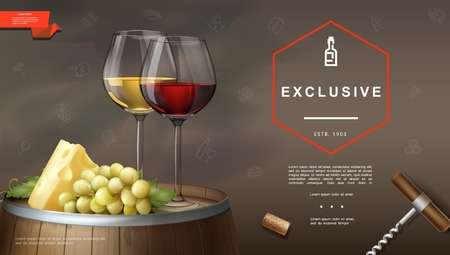 Realistic winemaking poster Illustration