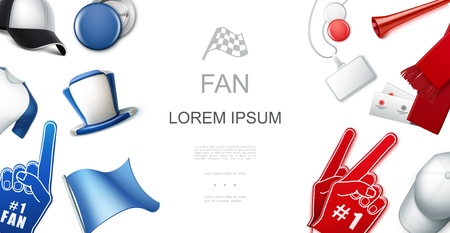 Fans red and blue accessories template with soccer supporter cap hat flag scarf badges vuvuzela trumpet foam gloves shirt vector illustration
