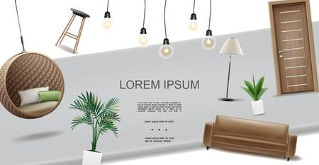 Realistic living room interior concept with bar chair hanging wicker armchair lamps sofa door plants in flowerpots vector illustration Illustration