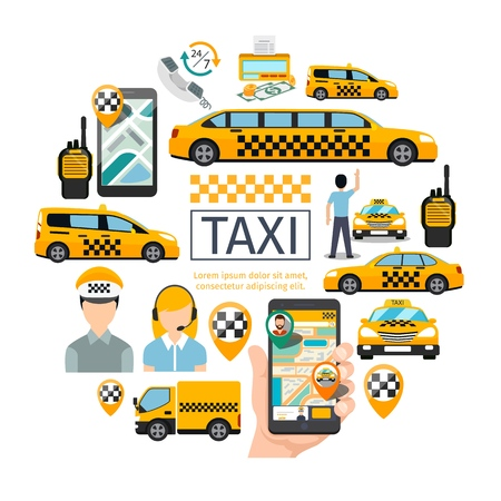 Flat taxi service round concept with driver operator passenger radio set map pointers money counter mobile with navigation application different cars vector illustration Illustration