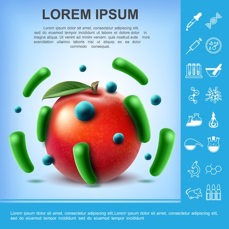 Realistic dirty apple poster with different germs and bacteria on fruit and laboratory research icons vector illustration Illustration