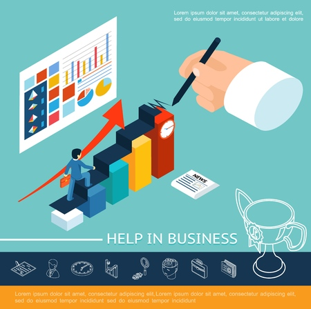 Isometric business help concept with businessman walking stairs writing hand diagrams charts graphs on sheet and linear icons vector illustration