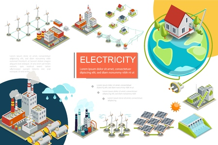 Isometric electricity infographics with fuel geothermal hydroelectric nuclear power stations biomass energy factory windmills electric transmission line solar panels vector illustration Illustration