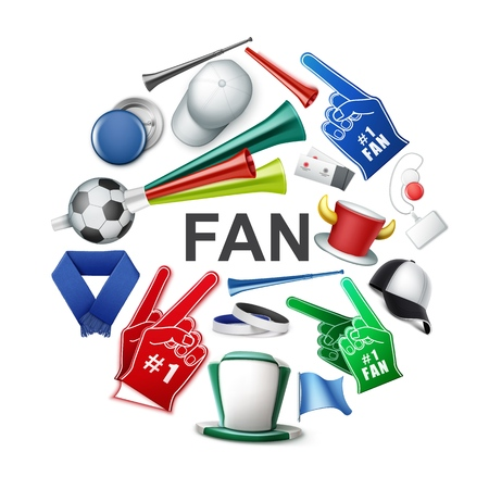 Realistic fan attributes round concept with soccer ball supporter horned and cylinder hats cap badges scarf foam gloves tickets flags vuvuzela trumpets vector illustration Stock Illustratie