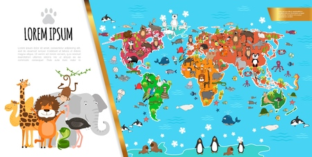 Flat fauna world map composition with wild animals living in ocean and on different continents vector illustration Çizim