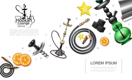 Concept d'éléments de narguilé réaliste avec des tubes de tuyaux narguilés tranches d'orange cubes de charbon de bois feuille anis étoilé et bâtons de cannelle illustration vectorielle