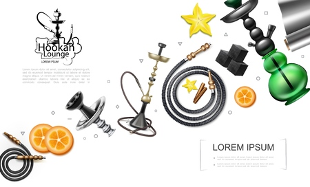 Realistic hookah elements concept with pipes tubes hookahs orange slices charcoal cubes foil star anise and cinnamon sticks vector illustration