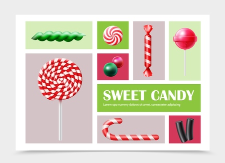 Realistic sweet products set with colorful lollipop candy cane gums and licorice vector illustration Illustration