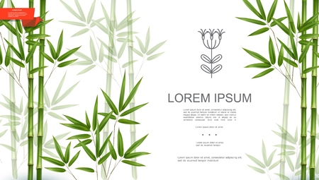 Green natural tropical plant background with bamboo stems and leaves in realistic style vector illustration