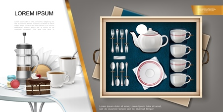 Realistic silverware and kitchenware concept with set of teapot plate forks spoons mugs and napkin holder tablecloth coffee cups cake on table vector illustration