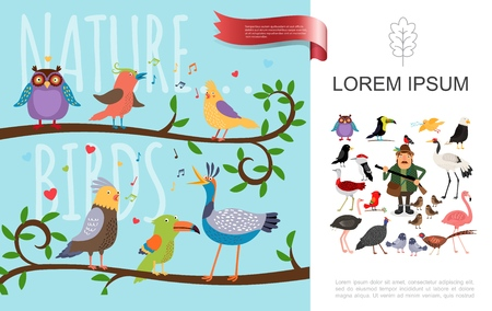 Flat colorful birds natural composition with owl toucan and singing birds sitting on tree branches vector illustration Illustration