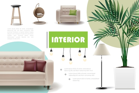 Realistic home interior concept with bar and wicker chairs sofa armchair pillows houseplant lamp vector illustration