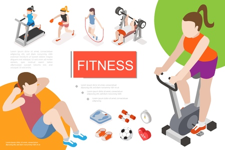 Isometric fitness in gym composition with man and women doing exercises scales dumbbells stopwatch sneakers soccer ball heart vector illustration Stock Illustratie