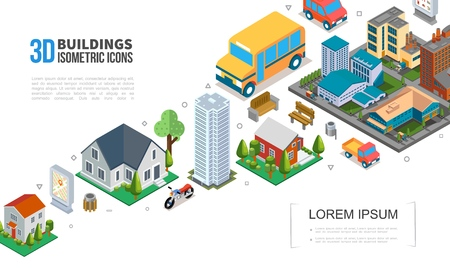 Isometric cityscape elements collection with city buildings skyscraper suburban houses vehicles trash trees benches vector illustration