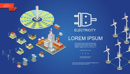 Isometric electricity production concept with solar panels energy power plant electric transformers transmission towers houses windmills vector illustration 일러스트