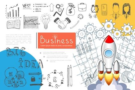 Sketch business startup infographic concept with rocket launch diagram graphs bulb handshake briefcase phone money bag pencils businessman businesswoman arrows vector illustration Vetores