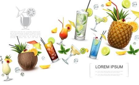 Realistic alcoholic drinks concept with pina colada cuba libre tequila sunrise martini margarita mojito cocktails and fruits slices vector illustration