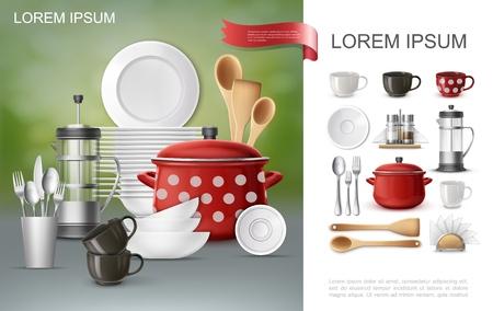 Realistische Geschirr- und Utensilienzusammensetzung mit Pfannen-Teekannenplatten Kaffeetassen Gabeln Spachtellöffel Serviettenhalter Salz- und Pfefferstreuer Vektorgrafik