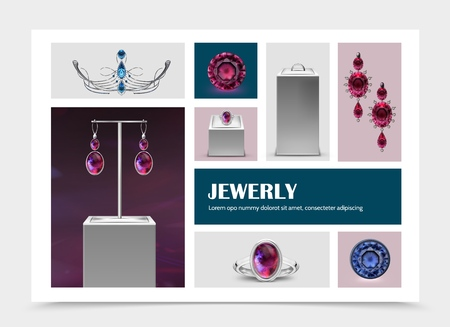 Realistic jewelry elements collection with earrings rings on stands jewels gems and diadem isolated vector illustration