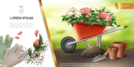 Realistic gardening colorful concept with gloves trowel flowerpot wheelbarrow full of flowers vector illustration