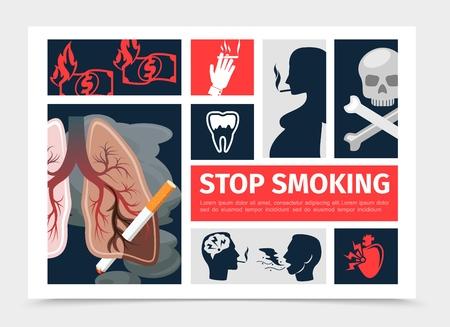 Plantilla de infografía plana para no fumadores con pulmones insalubres dientes de corazón fumando mujeres embarazadas hombres quemando dinero cráneo tibias cruzadas ilustración vectorial