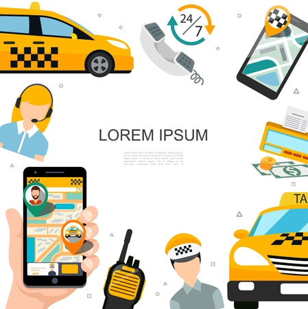 Flat taxi service concept with cars phone operator driver money counter radio set taxi order application on mobile screens vector illustration Vetores