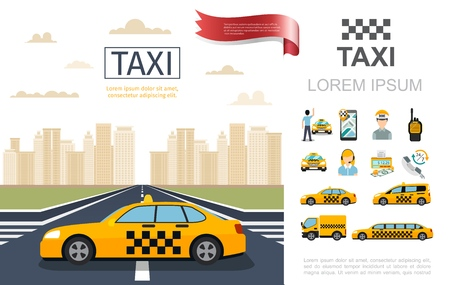 Flat taxi service composition with taxi cab on road passenger operator driver counter money radio set mobile different cars vector illustration