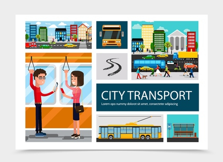 Flat city transport composition with colorful buildings automobiles moving on road bus stop vehicle track passengers traveling by public transport isolated vector illustration