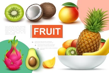 Realistic natural fruits composition with bowl of pineapple banana kiwi mango kumquat avocado coconut dragonfruit vector illustration