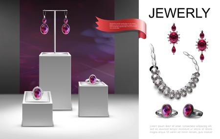 Composizione realistica di gioielli con orecchini spilla anelli con gioielli su supporti e illustrazione vettoriale collana d'argento Vettoriali
