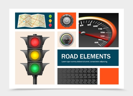 Realistic road elements set with navigational map pointers traffic light speedometer tractor tire vector illustration