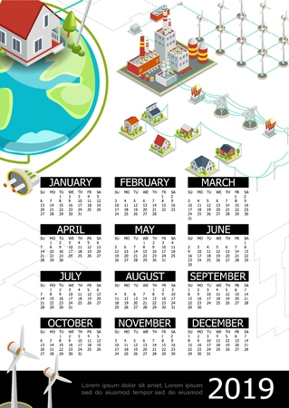 Isometric electricity 2019 year calendar template with windmills energy power factory electric transformers transmission towers houses earth planet electrical plug vector illustration