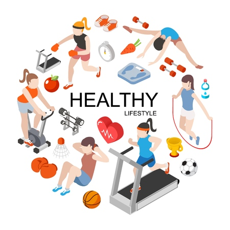 Isometric fitness round concept with slim girls doing physical exercises and sport equipment vector illustration