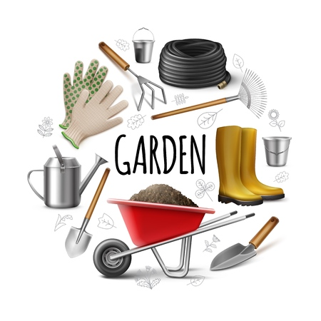 Realistic garden round concept with boots gloves watering can shovel rake trowel hose hoe buckets wheelbarrow of dirt isolated vector illustration