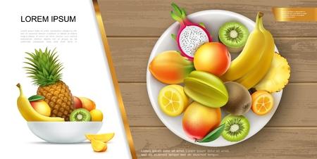 Realistic fresh healthy summer food concept with plate of banana kiwi mango pineapple kumquat carambola dragon fruits and their slices vector illustration