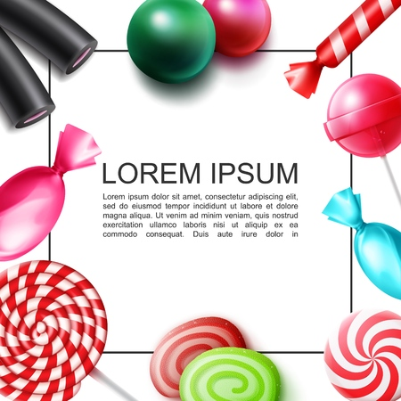 Realistic sweet candies colorful concept with frame for text bonbons jelly gums lollipops licorice vector illustration
