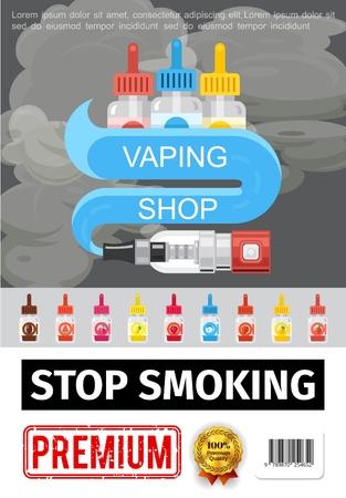 Flat smoking addiction poster with vaporizer and colorful bottles of liquids for electronic cigarettes vector illustration Vektoros illusztráció