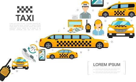 Flat taxi service elements set with automobiles driver operator money counter radio set navigator on mobile screen vector illustration