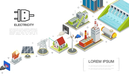 Isometric electricity concept with hydroelectric and fuel power stations biomass energy factory gas holder house windmill solar panel electric transformer vector illustration