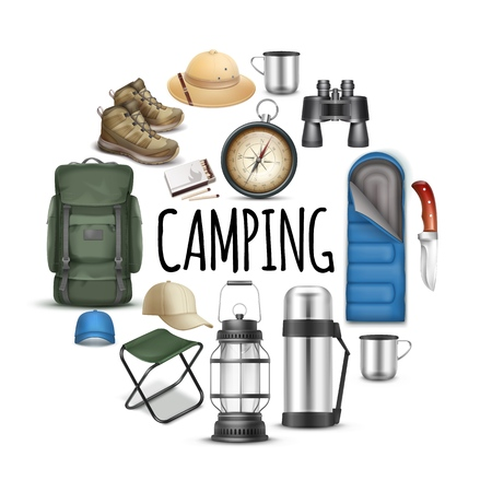 Realistic camping round concept with sleeping bag caps panama hat sneakers binoculars knife compass cup portable chair backpack matches lantern isolated vector illustration Ilustração