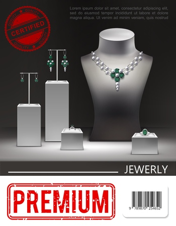 Realistic jewelry promotional poster with beautiful silver necklace earrings rings with emeralds diamonds on stands and dummy vector illustration