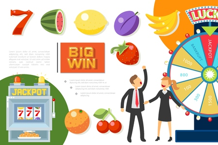 Flat casino elements composition with number seven fruit symbols for slot machine and people playing roulette vector illustration