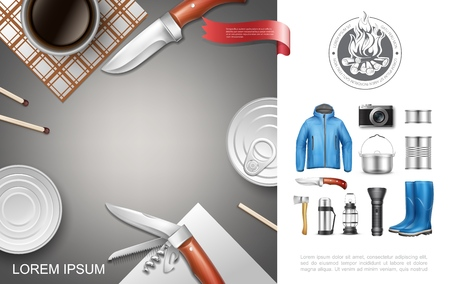 Realistic camping and tourism concept with canned food jacket rubber boots knife axe flashlight lantern cooking pan camera matches vector illustration