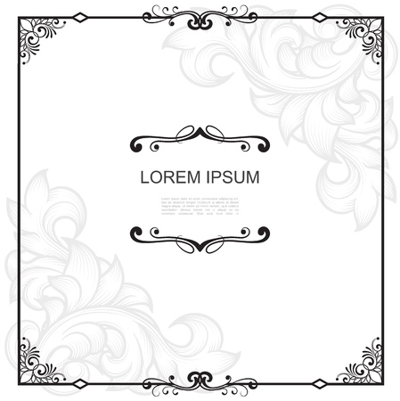 Vintage design frame template with corner border traceries calligraphic text dividers and swirl floral vignettes vector illustration