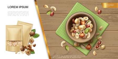 Realistic organic and natural nuts template with bowl of different healthy nuts on wooden background vector illustration Ilustração