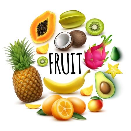 Realistic fresh exotic fruits round concept with banana pineapple papaya coconut mango kumquat avocado guava carambola kiwi dragon fruit isolated vector illustration Çizim