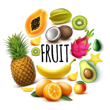 Realistic fresh exotic fruits round concept with banana pineapple papaya coconut mango kumquat avocado guava carambola kiwi dragon fruit isolated vector illustration Illustration
