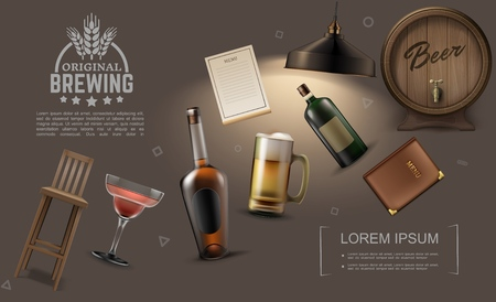 Realistic pub elements collection with bottles of alcoholic drinks beer mug cocktail glass chair bar menu lamp wooden barrel vector illustration